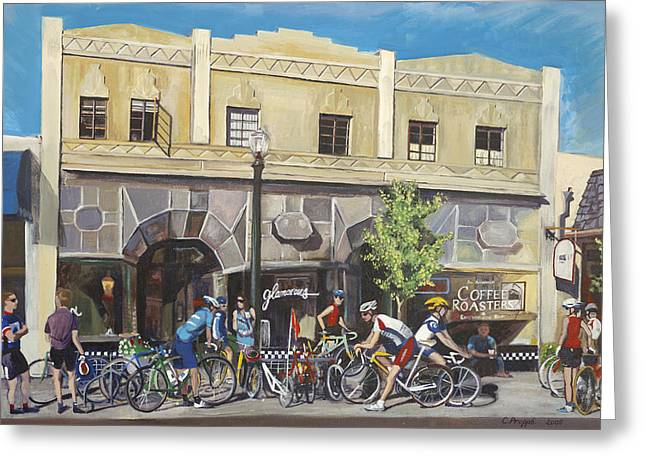 Cycling Paintings Greeting Cards - Cyclists at the Roasters Greeting Card by Colleen Proppe
