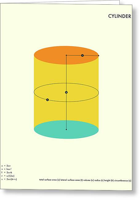 Geometric Art Greeting Cards - Cylinder Greeting Card by Jazzberry Blue