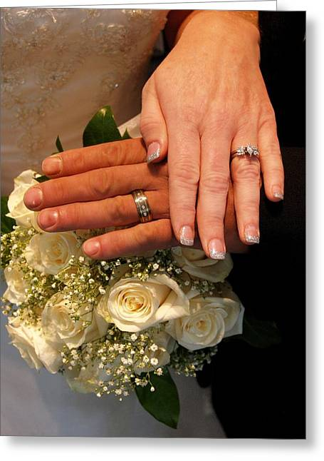 Just Married Greeting Cards - Cyndi and Bill Rings Greeting Card by James Granberry