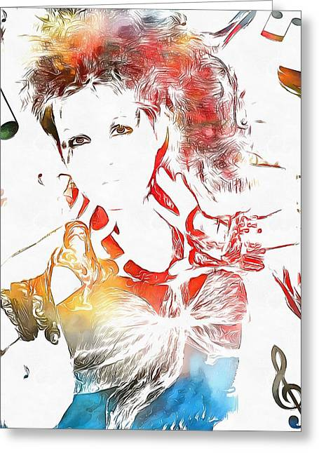 80s Pop Music Greeting Cards - Cyndi Lauper Watercolor Greeting Card by Dan Sproul