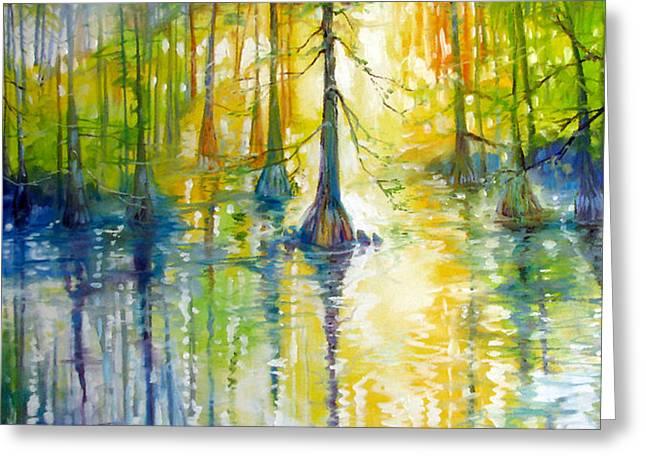 Bald Cypress Greeting Cards - Cypress Bayou Wetlands Greeting Card by Marcia Baldwin