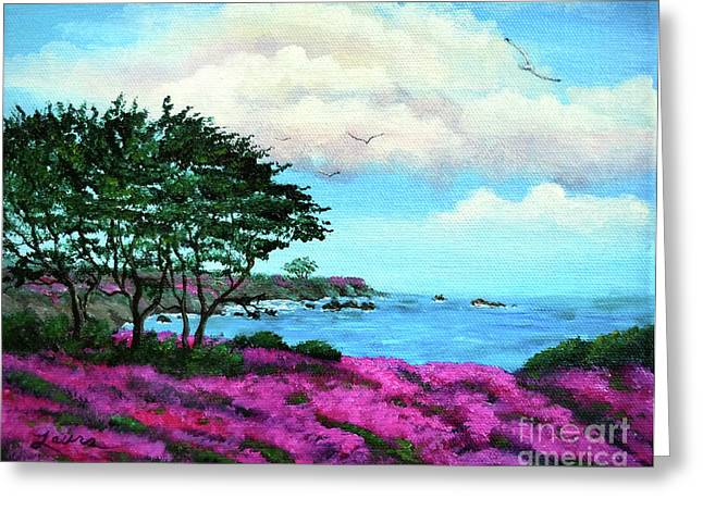 Monterey Greeting Cards - Cypress Trees by Lovers Point Greeting Card by Laura Iverson
