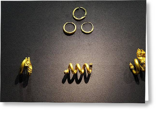Gold Earrings Photographs Greeting Cards - Cypriot gold ornaments Greeting Card by Andonis Katanos