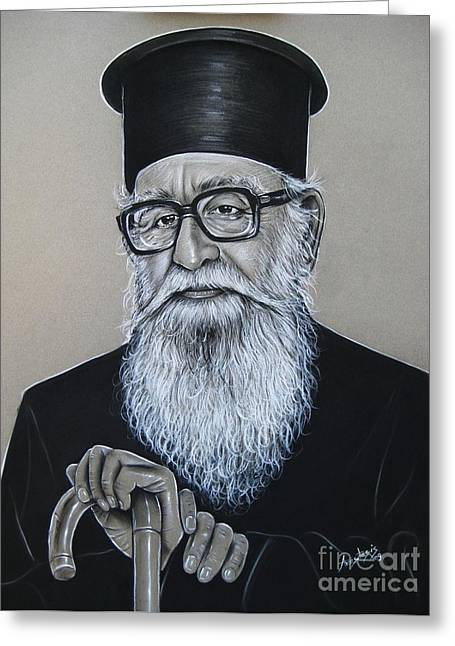 White Beard Pastels Greeting Cards - Cypriot Priest Greeting Card by Anastasis  Anastasi