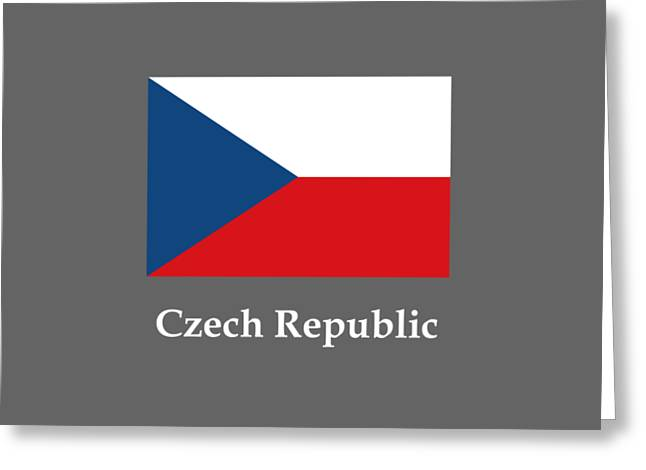 Czech Republic Flag And Name Greeting Card by Frederick Holiday