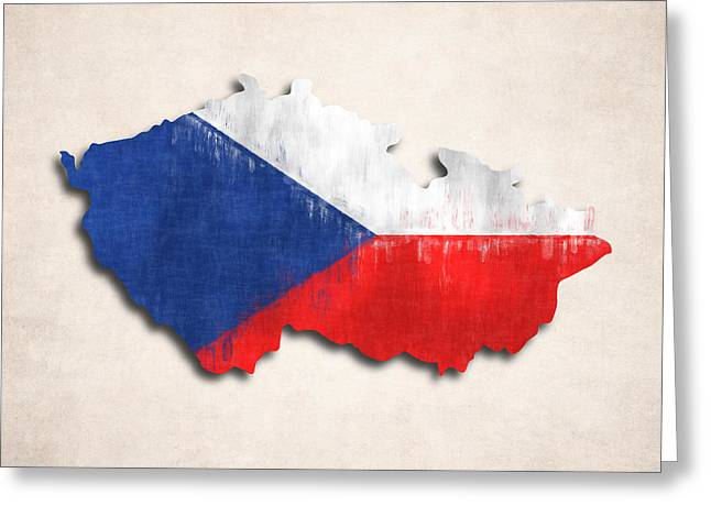 Czechia Map Art With Flag Design Greeting Card by World Art Prints And Designs