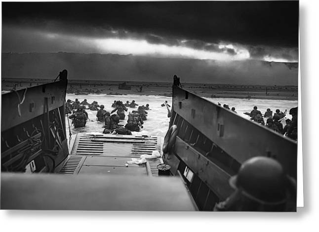 Landing Craft Greeting Cards - D-day June 6 1944 Omaha Beach Greeting Card by Daniel Hagerman