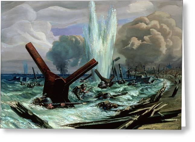 Landing Paintings Greeting Cards - D Day Greeting Card by Orville Norman Fisher