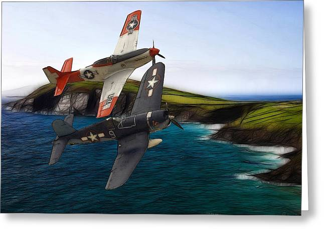 Military Airplanes Paintings Greeting Cards - D-day Greeting Card by Stefan Kuhn