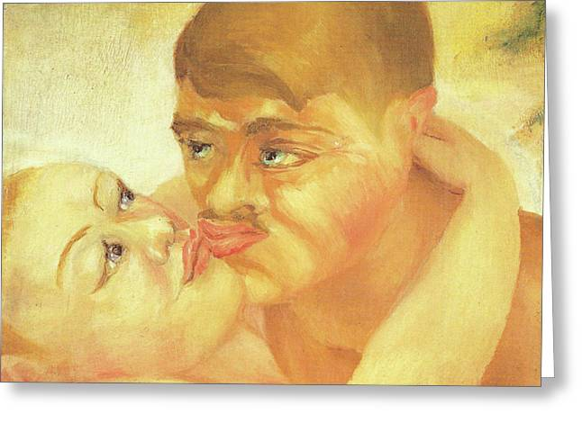 Balance In Life Paintings Greeting Cards - D H Lawrence Close Up Kiss Greeting Card by D H Lawrence