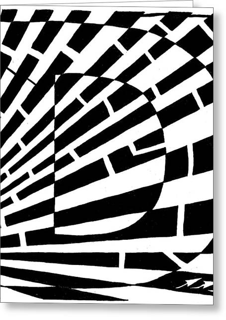 Mazes Mixed Media Greeting Cards - D Maze Greeting Card by Yonatan Frimer Maze Artist