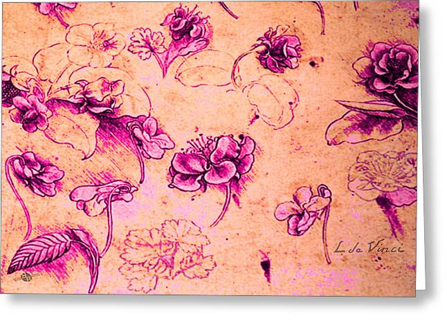 Da Vinci Flower Study Pink And Orange By Da Vinci Greeting Card by Tony Rubino