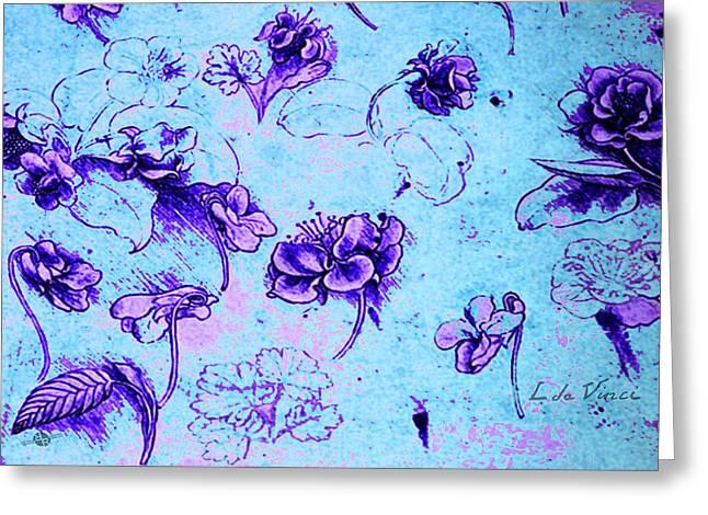 Da Vinci Flower Study Purple And Blue By Da Vinci Greeting Card by Tony Rubino