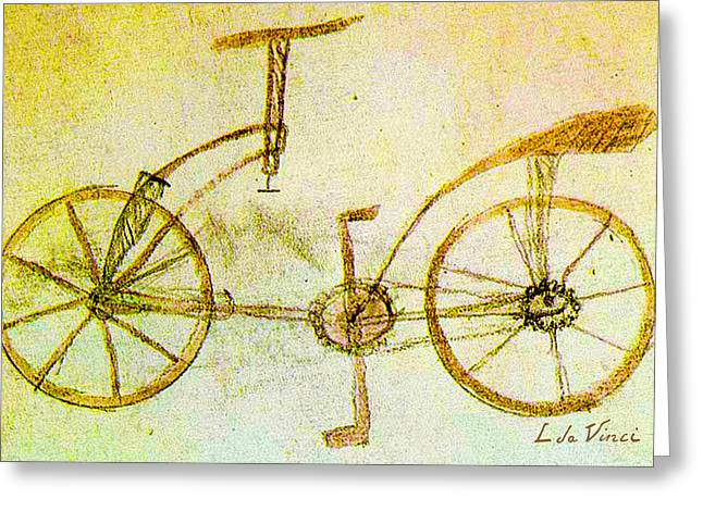 Da Vinci Inventions First Bicycle Sketch By Da Vinci Greeting Card by Tony Rubino