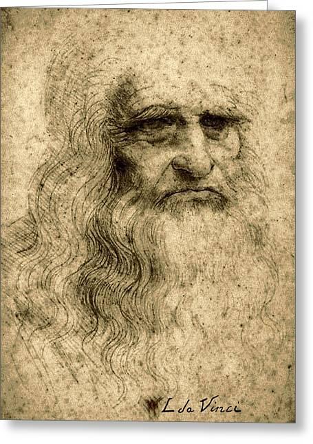 Da Vinci Self Portrait Remastered By Da Vinci Greeting Card by Tony Rubino