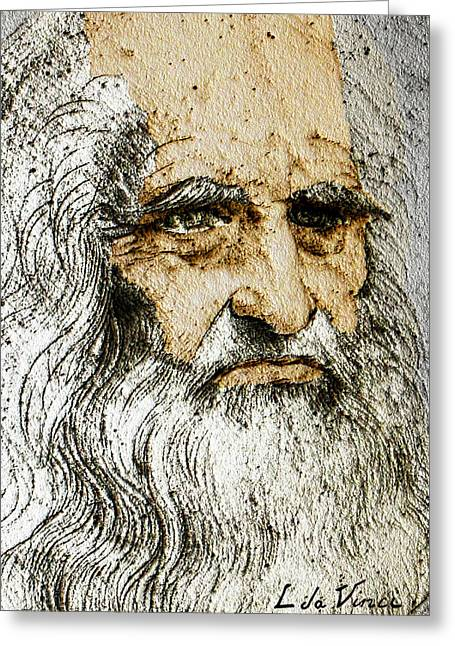 Interior Decorating Drawings Greeting Cards - Da Vinci Self Portrait Remastered With Added Color By Da Vinci Greeting Card by Tony Rubino
