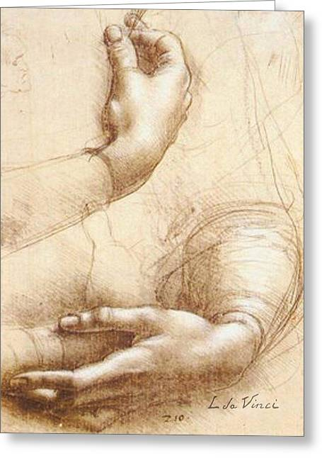 Interior Decorating Drawings Greeting Cards - Da Vinci Study of hands Greeting Card by Tony Rubino