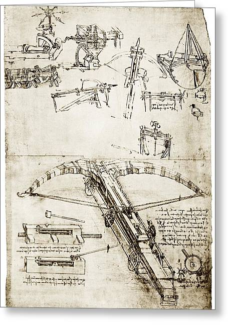 Weaponry Greeting Cards - Da Vincis Crossbow Greeting Card by Library Of Congress