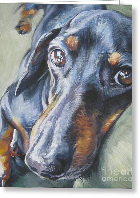 Dogs Paintings Greeting Cards - Dachshund black and tan Greeting Card by L A Shepard