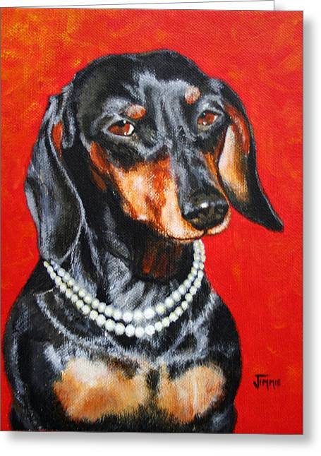 Dachshund In Pearls Greeting Card by Jimmie Bartlett