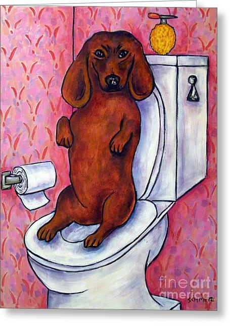 Dachshund In The Bathroom Greeting Card by Jay  Schmetz