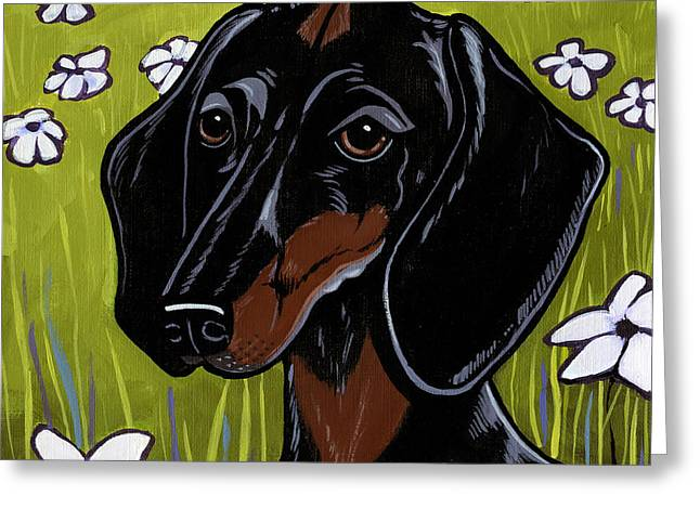 Dogs In Art Greeting Cards - Dachshund Greeting Card by Leanne Wilkes