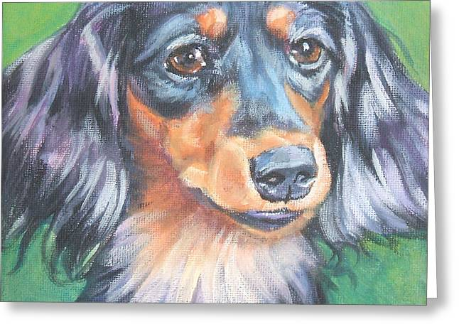 Black And Tan Dachshund Greeting Cards - Dachshund long haired Greeting Card by Lee Ann Shepard