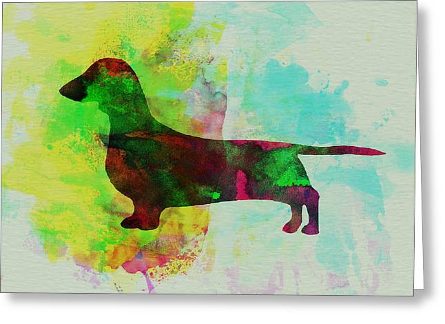 Pet Greeting Cards - Dachshund Watercolor Greeting Card by Naxart Studio