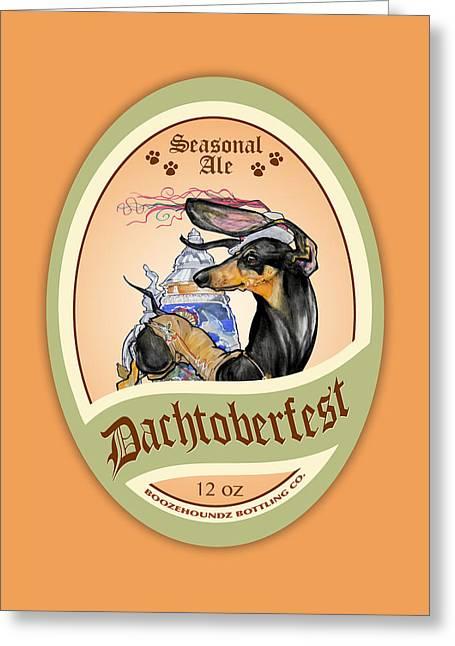Booze Drawings Greeting Cards - Dachtoberfest Seasonal Ale Greeting Card by John LaFree