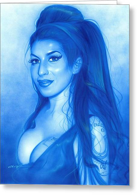 Amy Winehouse - 'daddy's Girl' Greeting Card by Christian Chapman Art