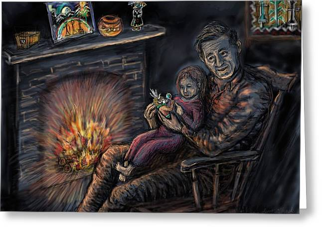 Hopi Drawings Greeting Cards - Daddys Kachina Tales Greeting Card by Dawn Senior-Trask