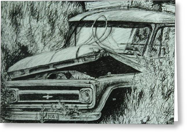 Pen And Ink Rural Drawings Greeting Cards - Dads Olds Truck Greeting Card by Chris Shepherd