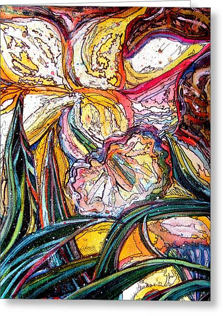 Spring Bulbs Drawings Greeting Cards - Daffodil Delirium Greeting Card by Mindy Newman