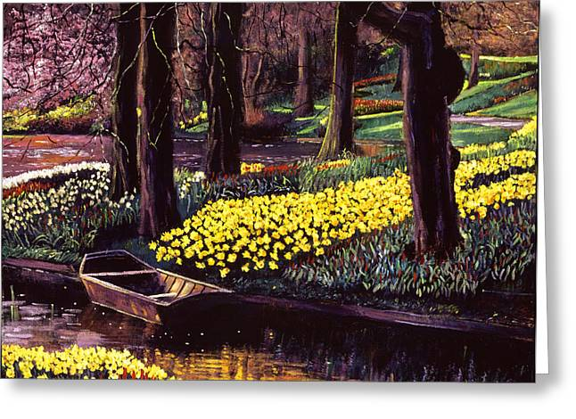 Rowboat Greeting Cards - Daffodil Park Greeting Card by David Lloyd Glover