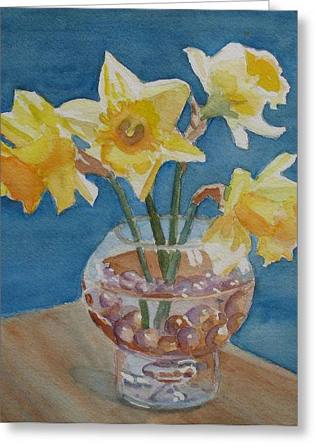 Daffodils And Marbles Greeting Card by Jenny Armitage