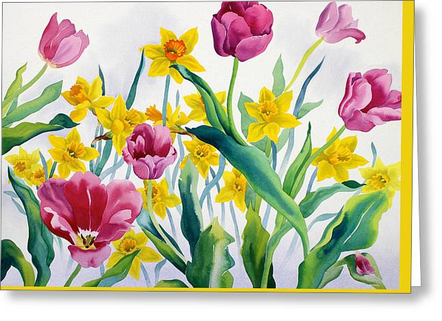 Daffodils Paintings Greeting Cards - Daffodils and Tulips Greeting Card by Christopher Ryland
