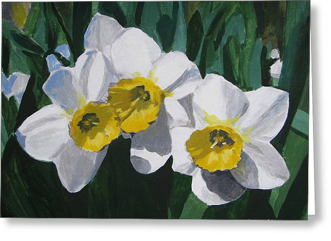Green And Yellow Greeting Cards - Daffodils Greeting Card by Angelina Sofronova