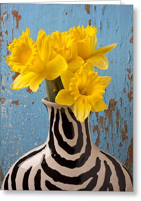 Yellows Greeting Cards - Daffodils in Wide Striped Vase Greeting Card by Garry Gay