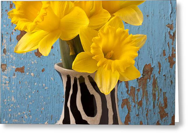Daffodils in Wide Striped Vase Greeting Card by Garry Gay