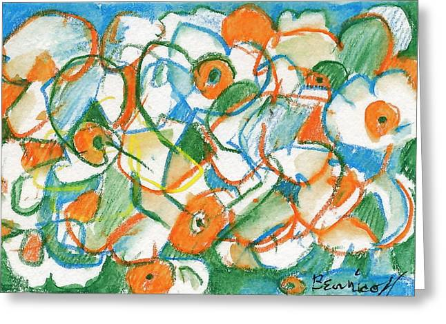 Miniature Abstract Drawings Greeting Cards - Daffodils Rearranged Greeting Card by Jan Bennicoff