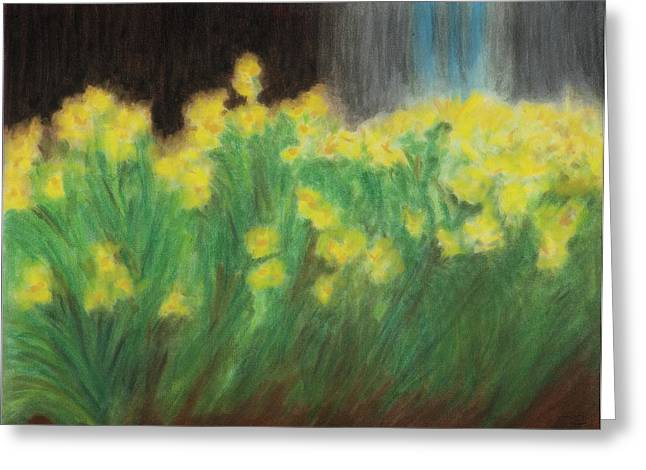 New York Pastels Greeting Cards - Daffoldils in New York Greeting Card by Dan Castle