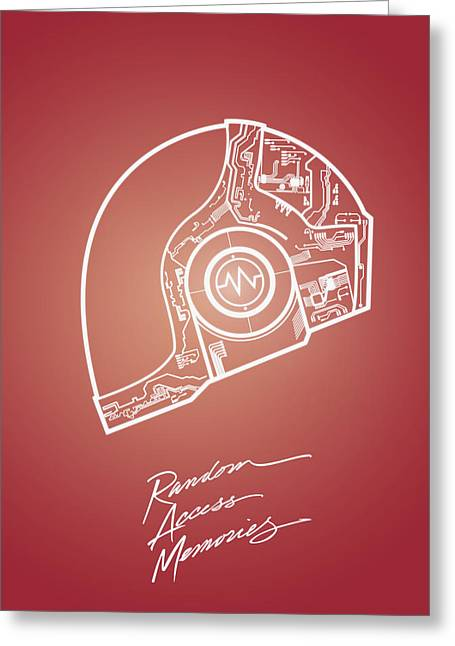 Daft Punk Guy Manuel Poster Random Access Memories Digital Illustration Print Greeting Card by Lautstarke Studio