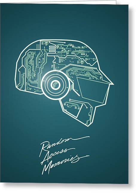Daft Punk Thomas Poster Random Access Memories Digital Illustration Print Greeting Card by Lautstarke Studio