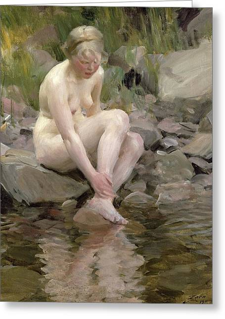 Recently Sold -  - Female Body Greeting Cards - Dagmar Greeting Card by Anders Leonard Zorn
