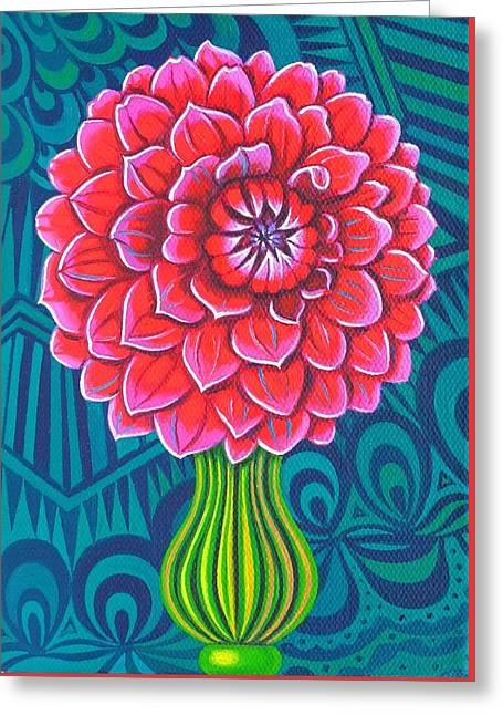Bold Blossom Greeting Cards - Dahlia Greeting Card by Jane Tattersfield