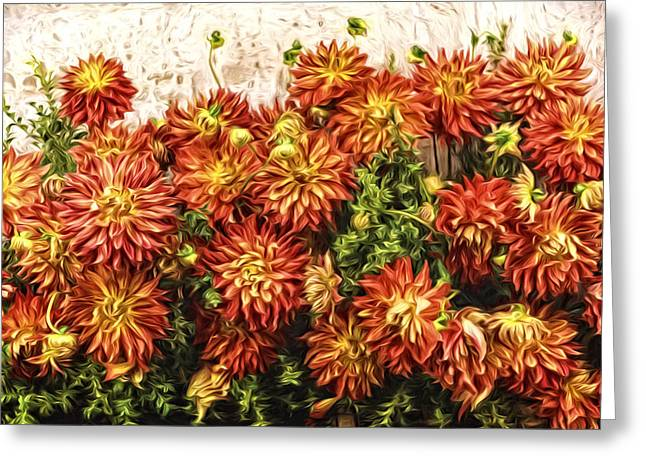 Impressionist Greeting Cards - Dahlia Wall D1436 Greeting Card by Wes and Dotty Weber