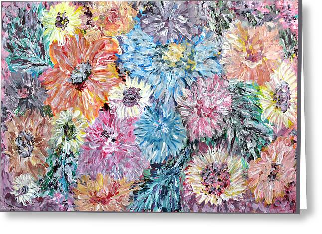 Abstract Digital Paintings Greeting Cards - Dahlias and Daisies standing together Greeting Card by Thecla Correya