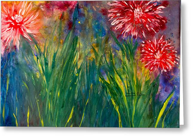 Saint Hope Paintings Greeting Cards - Dahlias and Fireflies Greeting Card by Tracy May