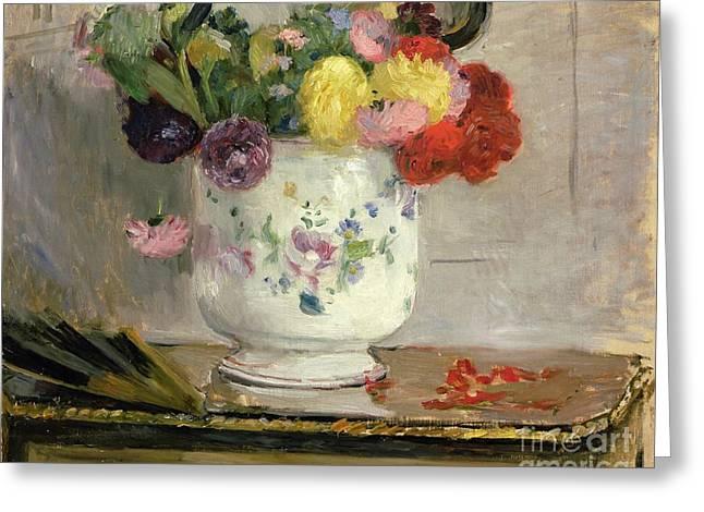 Berthe Morisot Greeting Cards - Dahlias Greeting Card by Berthe Morisot