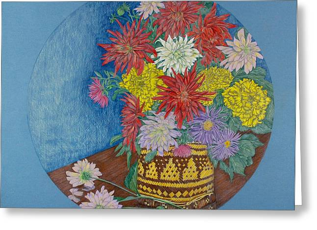 Aster Drawings Greeting Cards - Dahlias Greeting Card by Catherine ONeil
